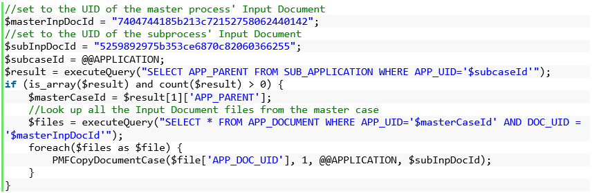 Input/Output Documents from Parent Case to Sub Process - P2